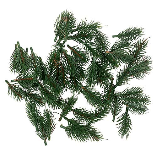 Deko-Tannenzweige | grün | 6,5 cm lang | 55 Stück | künstliche Tannenzweige | Adventskranz-Deko | Tannengrün