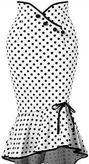 Fashion Women Sexy Casual Polka Dot Button Ruffles Tight-Fitting Party Skirt