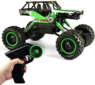 Kikioo 2.4Ghz Rechargeable Hobby Car 4WD Fast Speed Racing Cars Rock Crawlers Dune Buggy Remote Control Monster Truck Toy for Boy Gifts RC Car, 1/12 Giant Metal Shell Double Motors Off Road Vehicle