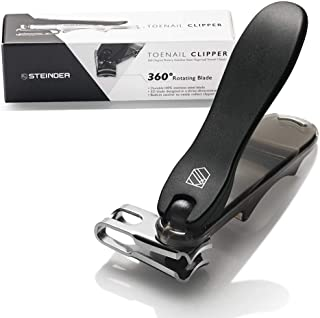 Steinder Toenail Clippers, Nail Clippers, Easy Grip 360 Degree Rotary Swivel Head & Pedicure Tool - Black