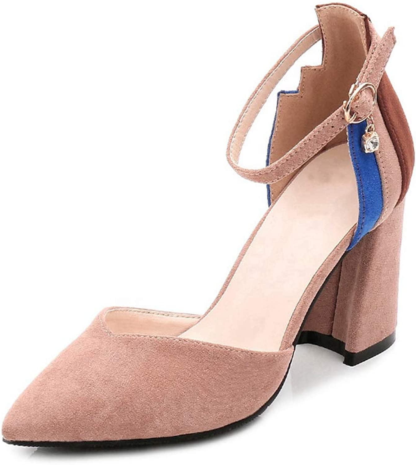 CYBLING Womens Pointy Toe Chunky Mid Heel Pumps Elegant Contrast color Ankle Strap Suede Dress shoes