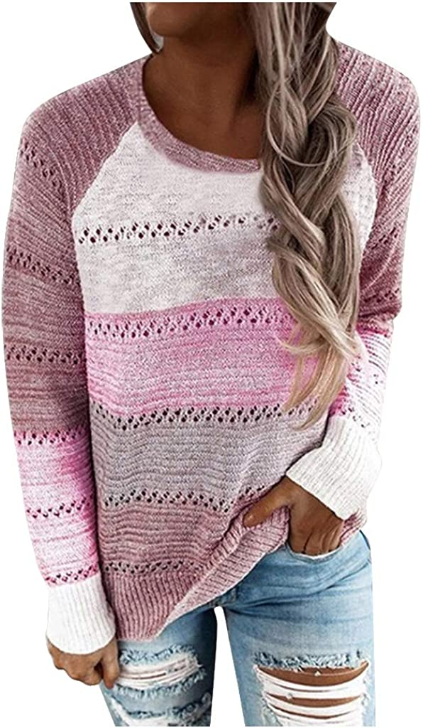 POTO Lightweight Knit Sweaters for womens Long Sleeves Pullover Hollow Out Shirts Color Block Blouses Tops