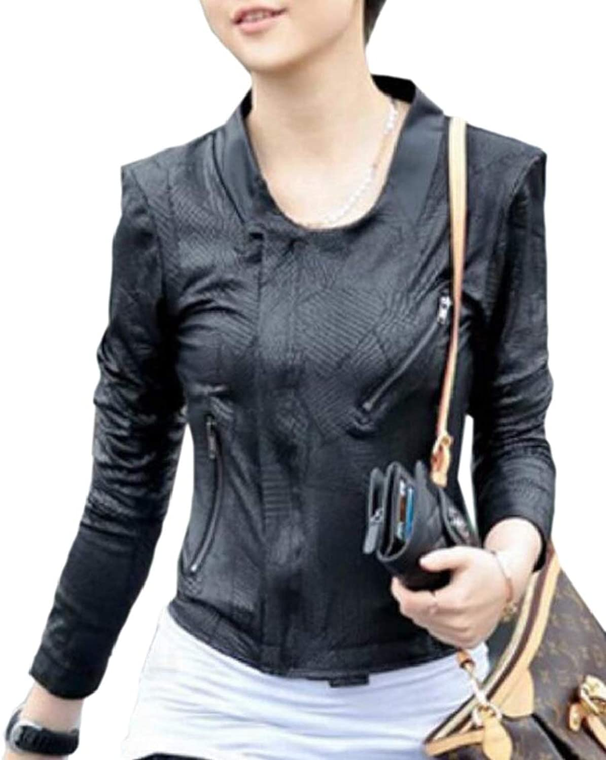 XQS Womens Snake Skin Slim Jacket Black PU Pattern Coat