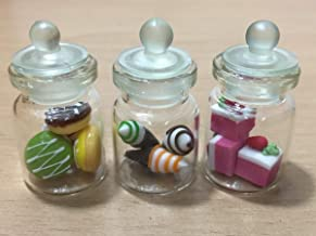 3pc Miniature Cake Food Candy Dollhouse Lollipop Donut Glass Mini Bottle fruit