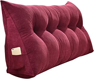 PENGFEI Headboard Bed backrest cushion Pure color Large cushion Soft Case sofa Washable Independent liner 5 colors, 9 sizes (Color : Burgundy, Size : 100x20x50CM)