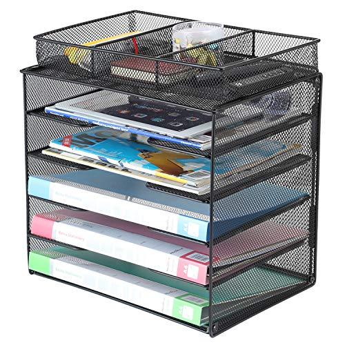 Samstar Dokumentenablage aus Metall, Briefablage Organizer Papierablage Schreibtischablage für A4 Dokument mit 1 Extra Organisator, Schwarz