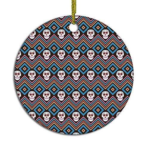 MAK060KFT Christmas Tree Ornament,Mexico Undead Festival Ehnic Style Skull Ceramic Ornament,Holiday Ornament Friends Gift,Ceramic Holiday Decoration,2.8in