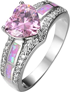 Best white gold pink heart ring Reviews