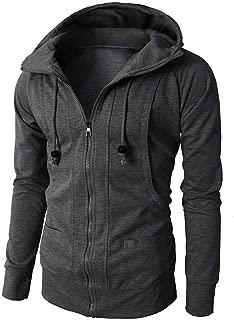 Men Hoodie Pullover,Male Autumn Winter Jacket Long Sleeve Zipper Blouse Sport Tops Hooded Lightweight Pullover Dark Gray