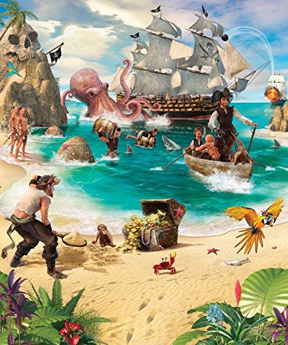 Walltastic 42131 Pirate and Treasure Adventure Wallpaper Mural, bunt, 12 x 7 x 52.5 cm