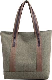 Women Canvas Shoulder Bag, Printed Retro Casual Bag, Handbag (Green)