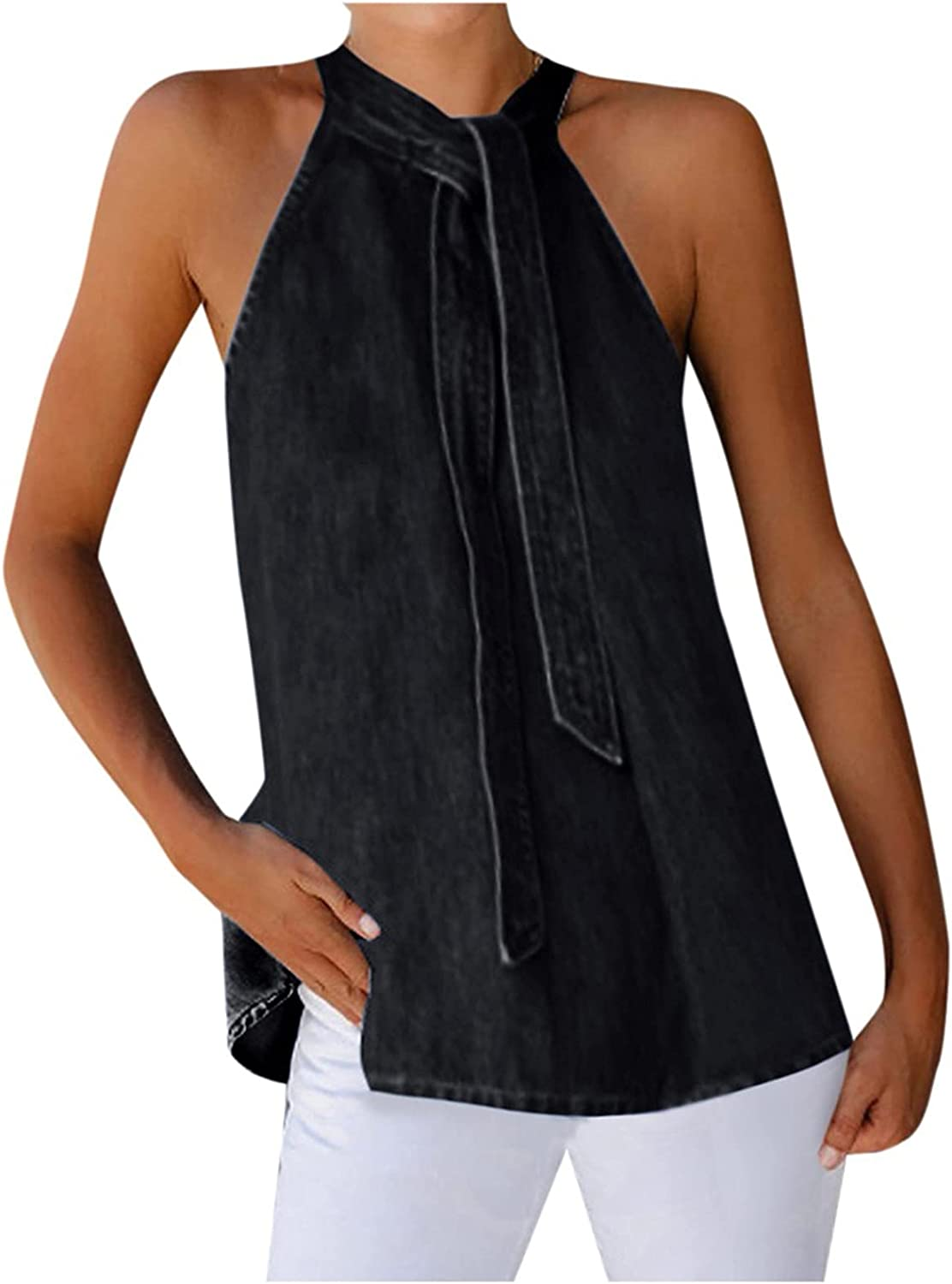 Womens Tank Tops Summer O-Neck Sexy Halter Tie Solid Color Sleeveless Vest T-Shirt Strap Vest Camisole