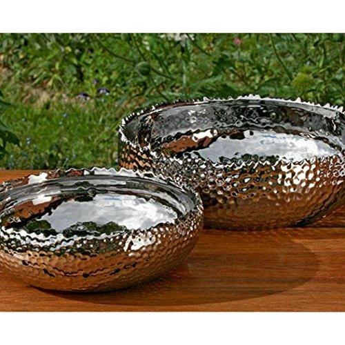 Dekoschale, Dekoschüssel Lajos 2er-Set in silber aus Keramik, Ø ca. 25 cm und 30 cm