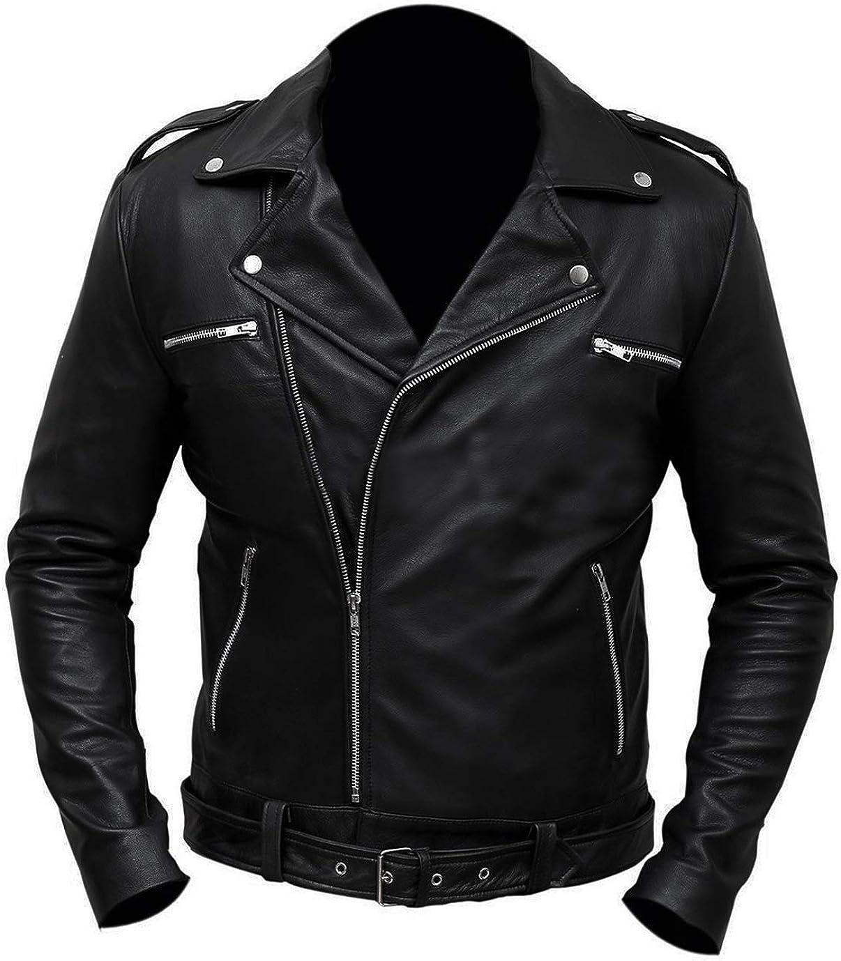 Spazeup Negan Jacket Walking Jeffrey Dean Morgan Motorcycle Leather Jacket - Halloween Costume Leather