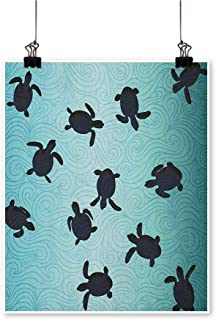 HouseDecor Marine,Wall Decor Ideas Baby Sea Turtles Swimming Silhouette from The Bottom of Ocean Underwater Display W32 xL48 Oil Painting On Canvas