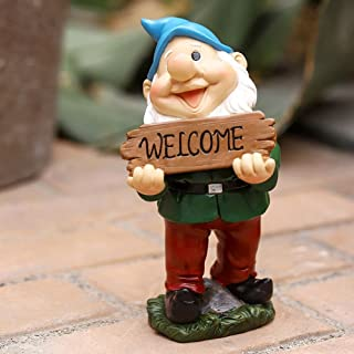 Garden Gnome Statue Outdoor Decor - Funny Resin Welcome Gnome Figurine Sculpture Garden Art for Fall Winter Outdoor Statue...