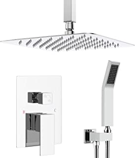 Shower System-Bathroom Luxury Shower Faucets Sets Complete Ceiling Mounted Rain Mixer Shower Combo Set with 10 Inches High Pressure Rainfall Shower Head, Polished Chrome