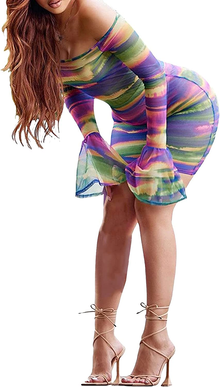 hujukuludusu Women's Sexy Sheer Mesh Off Shoulder Long Flared Sleeve Dress Y2K Water Ripple Pattern Mini Bodycon Dress