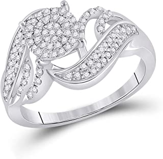 FB Jewels 925 Sterling Silver Womens Round Diamond Cluster Ring 1/3 Cttw Size 7 (Primary Stone: I2 clarity; G-H color)