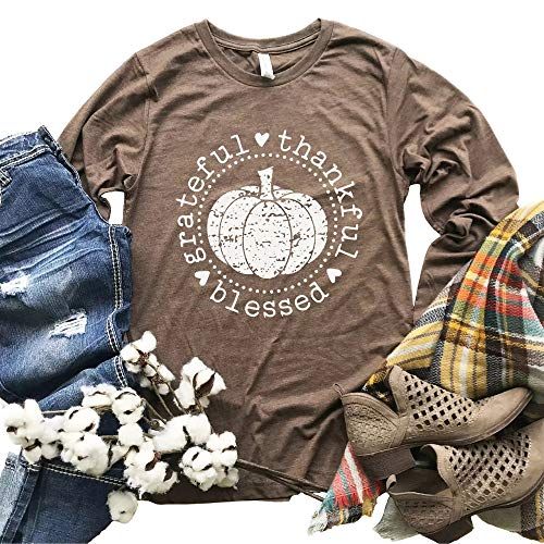 Beopjesk Women's Fall Pumpkin Halloween T-Shirt Casual Long Sleeve Grateful Thankful Blessed Thanksgiving Graphic Tees Tops (Khaki, M)