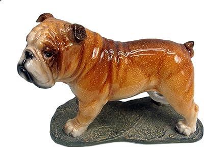 Hi-Line Gift Ltd Bulldog Standing Figurine, 7.5-Inch, Brown Glossy Finish