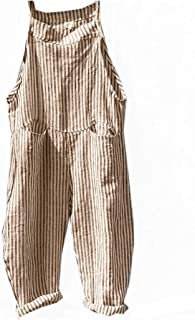 neveraway Women's Wide Leg Slant Pocket Suspenders Striped Long Pants Overalls