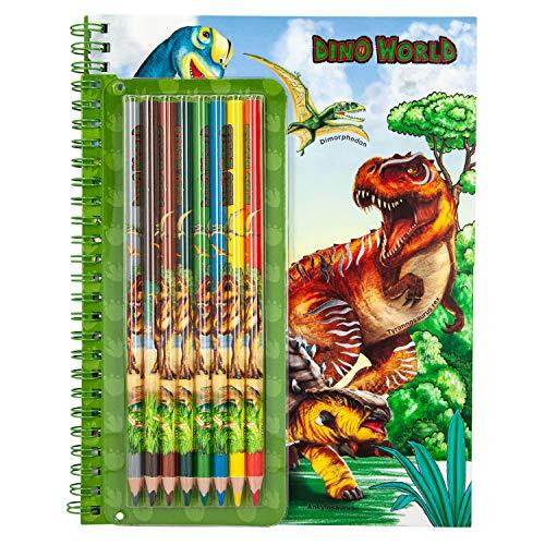 Depesche 6852 Malbuch mit Stickern, Dino World, inklusive 8 Buntstiften