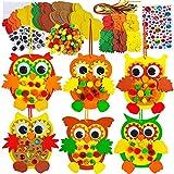 24 Sets Foam Owl Decorations DIY Owl Fall Craft Kit Assorted Foam Owl...