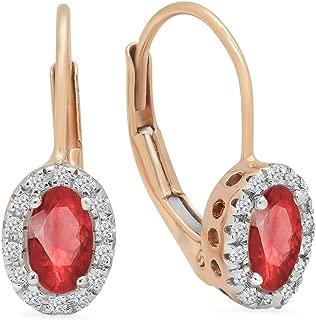 Dazzlingrock Collection 14K Ladies Halo Style Hoop Earrings, Rose Gold