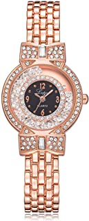 Stylish watch Women's Watch Quartz Wrist Watch with Round Dial Inlaid Rhinestones Crystal Bling Watch with Metal Buckle Strap for Elegant Female,Silver Watch (Color : Gold)