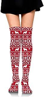 Calcetines hasta la rodilla para mujer (2 pares), calcetines largos navideños con suéter feo para mujer - Lo mejor para