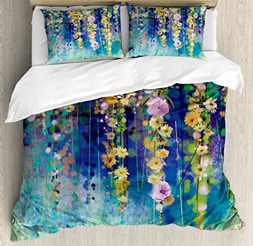 Ambesonne Watercolor Flower Duvet Cover Set, Vines Flowers in Soft Colors Summer Garden Watercolor Artwork, Decorative 3 Piece Bedding Set with 2 Pillow Shams, Queen Size, Mustard Indigo