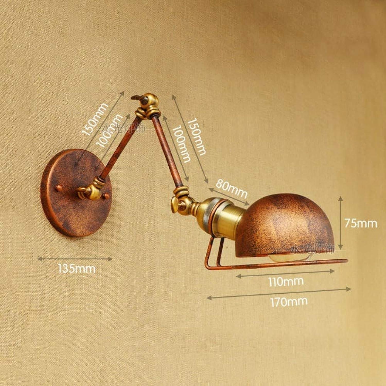 Retro-teleskopische Wandleuchte mit langem Arm des kreativen Einkopf-Halbrost-Lofts, 1
