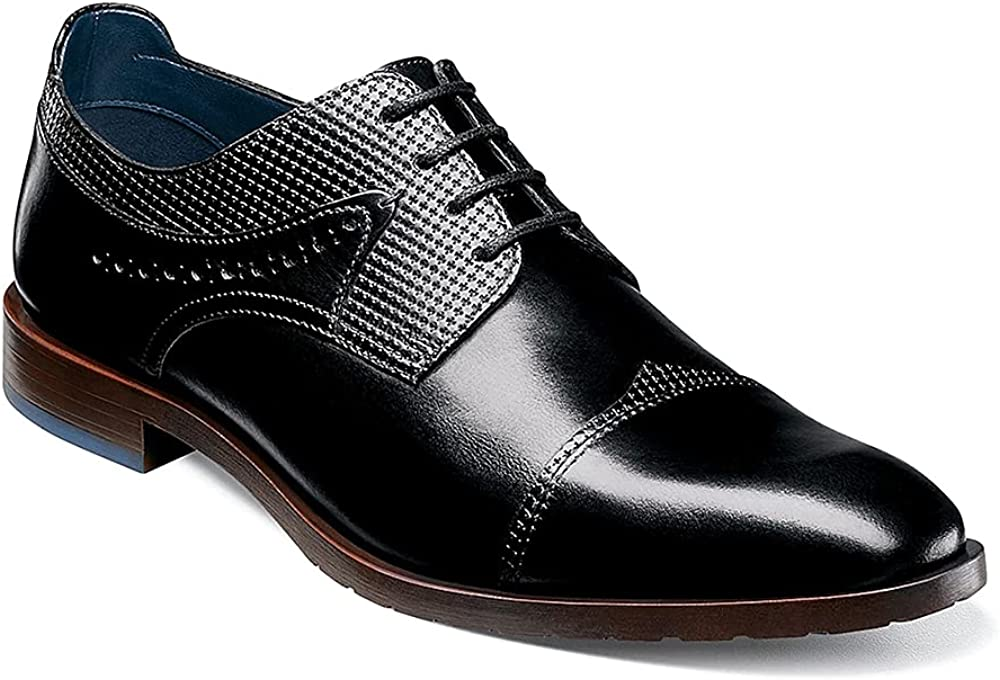 Trish Lucia Mens Cap Toe Oxfords Lace-up Modern Formal Dress Shoes Leather Office Business Derby Shoes