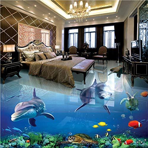 Piso personalizado papel tapiz 3d dolphin Ocean World baño estéreo sala de estar azulejo 3d azulejo 3d azulejo 150x105cm