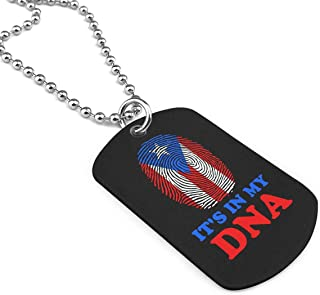Puerto Rico Flag It's In My DNA Military Brand Necklace Dog Tag Stainless Steel Chain Pendant Keyring