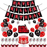 NOA Have a Killer Party Decorations Halloween Scary Red Glitter Bloody Banner Birthday Balloons Cake Topper for Halloween Vampire Party Props Supplies Backdrop Photo Wall Decor