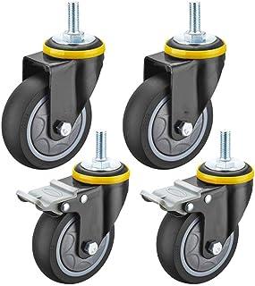 Set van 4 draaibare zwenkwiel,Meubelwiel Heavy Duty,M12 schroefdraad staaf,360 ° rotatie,Vervang het wiel van een industri...