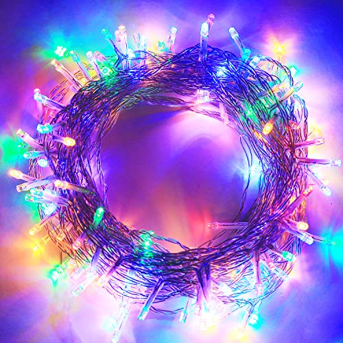 Aluan Christmas Lights 100 LED Colorful 33ft +10ft Indoor String Lights 8 Modes Adjustable Plug in Fairy String Lights for Home Garden Party Christmas Tree Window Curtain Decoration, Colorful