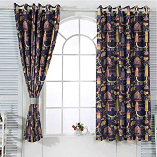 Grommet Window Curtain Kids Curtains Cartoon,Carnival Pattern with Circus Carts Doodle Style Castles and Houses Illustration,Multicolor Curtain Living Room 72 x 72 inch
