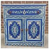 Casa Moro | Cómoda Azul de Madera marroquí (82 x 82 x 40,5 cm, con 1 cajones y 2 Puertas, Pintada a Mano) | MO4122