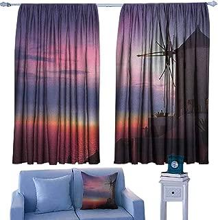 Mannwarehouse Windmill Novel Curtains Beautiful Oia Village Santorini Island Greece Colorful Sky Idyllic Aegean Suitable for Bedroom Living Room Study, etc.55 Wx63 L Multicolor