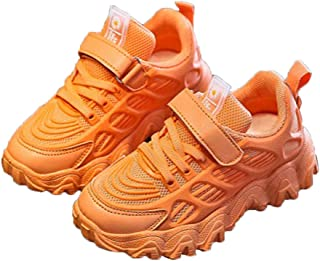 Hopscotch Girls Mesh Solid Fixed Lace Sneakers in Orange Color