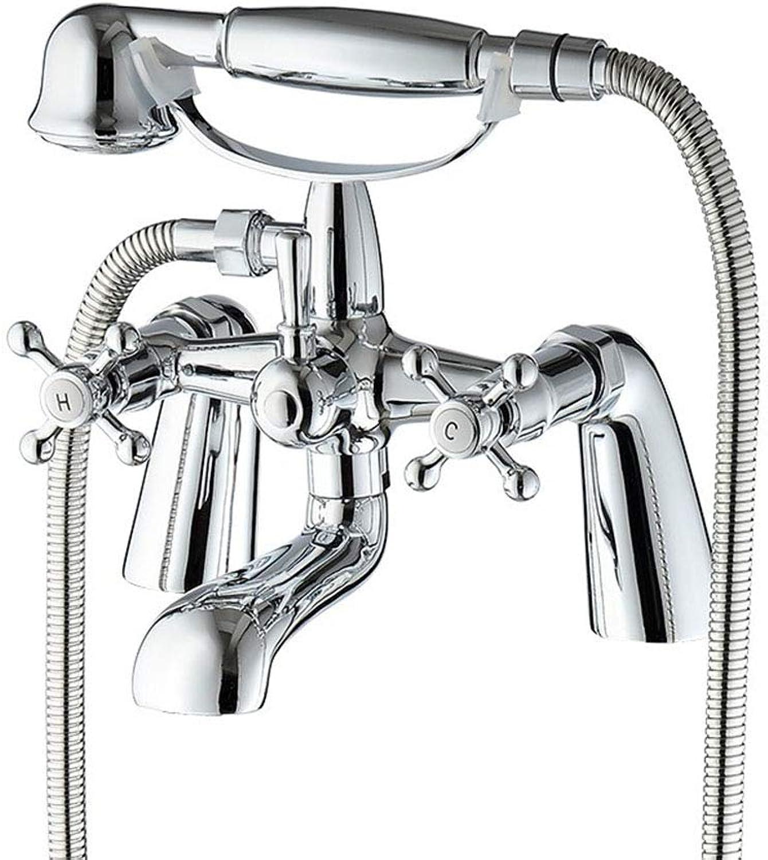 Badewanne Wasserhahn Chrom Messing Dusche Set Badewanne Mischbatterie Deck Montiert Bad Dusche Wasserhhne Dual-Handle-Duschsystem
