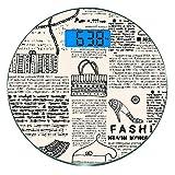 Bilancia digitale di precisione tondo Vecchio giornale Decor Misurazioni accurate del peso della bilancia pesapersone in vetro ultra sottile,Fashion Icone a tema Scarpe Borsa Borse con dettagli ornati
