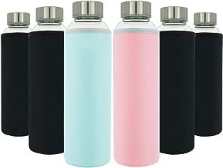 T&N Glasflaschen 6er Set 550ml – Neopren-Hüllen Auslaufsicher –..