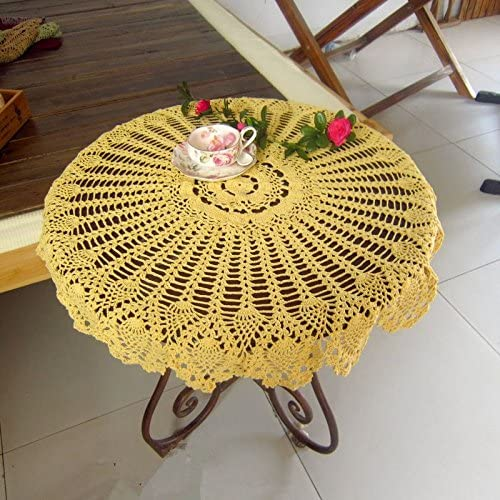 Regular store USTIDE Cheap mail order sales Handmade Crochet Tablecloth Flowers Pineapple Tabl Yellow