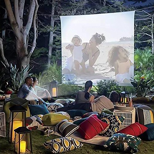 """120"""" 16:9 Portable Lycra/Spandex Video Projector Display Movie Screen DJ Screen.Complete Kit Includes 4.7'x8.7' Stretch Fabric&Hardware for Home Cinema Indoor Outdoor Back Yard Movie Front&Rear Screen"""