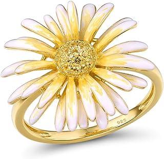 Santuzza Daisy Ring 925 Sterling Silver Handmade Enamel Sunflower Jewelry for Women