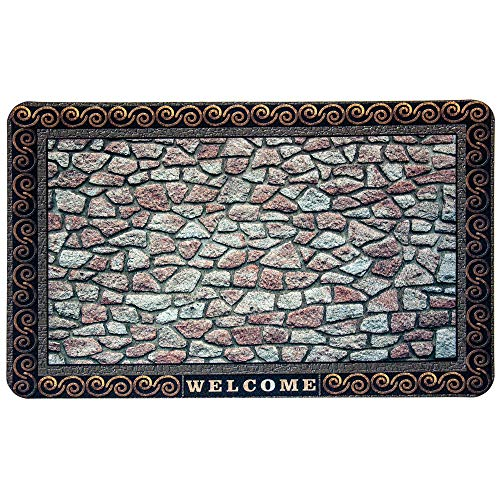 Premium Fußmatte Sarah mit edler 3D Steinoptik, Welcome Schriftzug, rutschfest - Fußabstreifer für Haustür, Eingang, Flur, Balkon - Schmutzfangmatte für Innenbereich und Außenbereich, 45cm x 75 cm